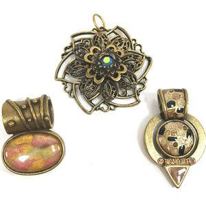 3 Chicos Antique Gold Pendants Aztec Design Signed
